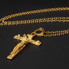 Cross INRI Crucifix Jesus Piece Pendant Necklace Stainless Steel