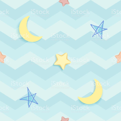 Cute Seamless Pattern With Colorful Handdrawn Stars And Crescent