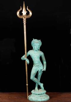 SOLD Bronze Trishul or Trident of Shiva 44