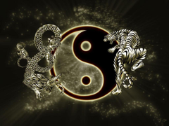 Amazing Yin Yang wallpapers with a dragon and a tiger named The