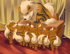 Arcanine With Cute Growlithe Art Wallpapers Wallpapers Themes
