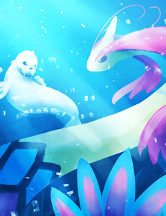 Milotic and Dewgong by laclefaverite