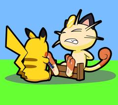 Pika Takes on Meowth by Alphaws