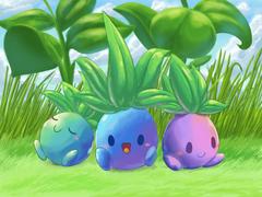 Three colorful Oddish by aquabluu