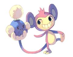 Aipom and Jumpluff by bluekomadori