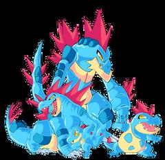 Totodile Croconaw Feraligatr and Mega Feraligatr by tekkenrocker