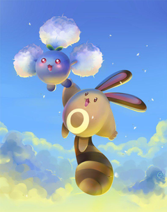 Jumpluff and Sentret by Gy