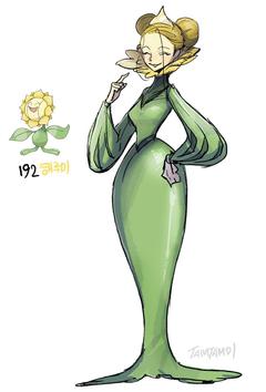 Pokemon Gijinka 191 Sunkern 192 Sunflora