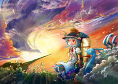 Sunset Pokemon video games clouds Touhou dress blue hair red eyes