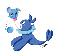 Azurill and Popplio by Whitestorm0
