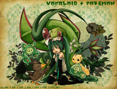 pokemon Vocaloid Hatsune Miku Flygon Leafeon Shaymin Wallpapers