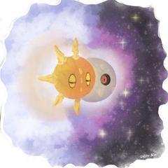 Pokemon Sun and Moon Lunatone and Solrock by Kiera
