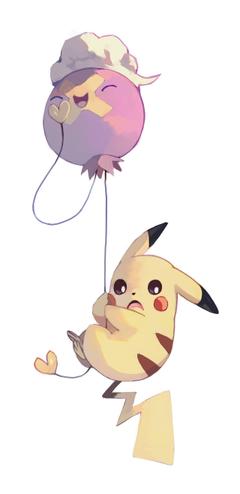 Pikachu and Drifloon by bluekomadori deviantart on DeviantArt