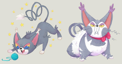 Glameow and Purugly by doingwell