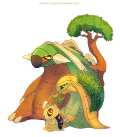 Turtwig Grotle and Torterra by francis