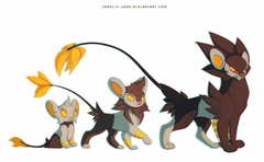 Shinx Luxio and Luxray by francis john