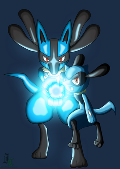 Lucario and Riolu Aura Sphere Colored by JamalC157