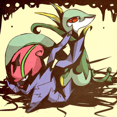 Accelgor and Serperior by pcerise