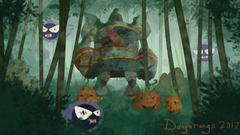 Happy Halloween Golurk painting from my self pokemon