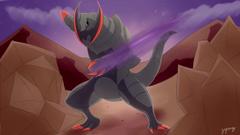 Shiny Haxorus uses Dragon Claw by Zaprong