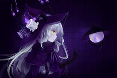gloves green eyes hat hitsukuya horns lampent litwick pokemon purple