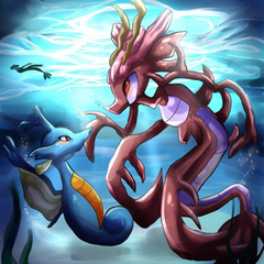The kingdra and the dragalge by Bluukio Wallpapers