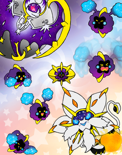 Cosmog and Evos by Rotommowtom