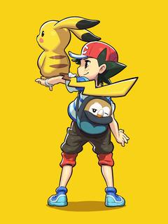 Pokemon Pikachu Rowlet And Satoshi HD Mobile Wallpapers