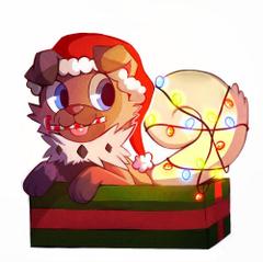 Rockruff the festive Puppy Drawn by Cynoiz Pokemonart