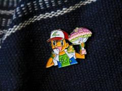 Ash Found Rare Mushroom Shiinotic Pokemon Cartoon Hat Pin