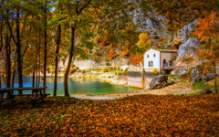 Cottage Lake Fall Camping Italy Trees Hill Yellow
