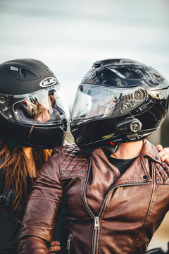 HD wallpaper man and woman riding motorcycle helmet biker