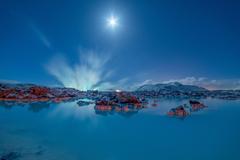 Wallpapers Blue Lagoon Moonlight Iceland 4K Nature