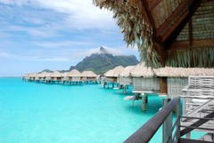 Bungalows blue lagoon on paradise tropical island wallpapers