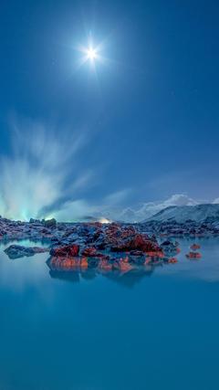 Wallpapers Blue Lagoon Moonlight Iceland 4K Nature Editor s