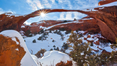 Winter at Arches National Park Utah widescreen wallpapers
