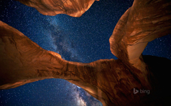 Milky Way above Double Arch in Arches National Park Utah