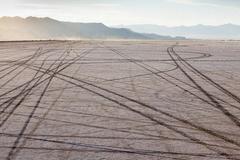 Tire Tracks On Bonneville Salt Flats At Dusk Speed Week Utah
