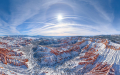Sun Halo Over Bryce Canyon Aerial panoramic view towards Sunset