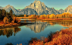 Grand Tetons National Park Curve River Forest With Yellow Leaves