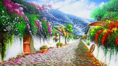 Vivid Flowers Cobblestone Hill wallpapers
