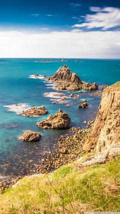 Rocky shorelines at Land s End Cornwall United Kingdom 4K HD