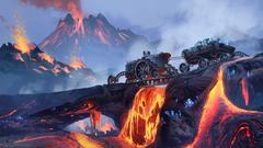 Scifi Steampunk Mountain Vehicle Mining Lava HD Artist 4k