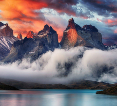 mountain Torres Del Paine Patagonia Chile Sunrise Clouds
