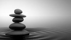 Black and white Zen Stone Water Grey Calm Serenity