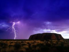 Wallpapers clouds thunderstorm lightning uluru ayers rock
