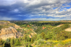 Rain in the distance at Theodore Roosevelt National Park North
