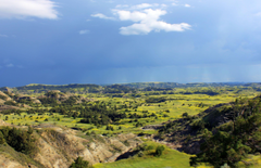 Rain in the valley at Theodore Roosevelt National Park North
