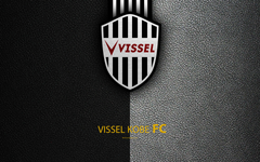 wallpapers Vissel Kobe FC 4k logo leather texture