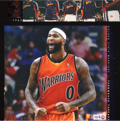 Demarcus cousins in the bad ass throwback threads for golden state